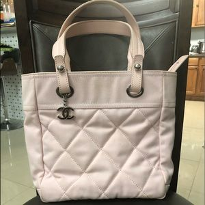 Rare Chanel Paris Biarritz PM Pink Canvas Tote Bag